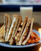 Four different peanut butter sandwiches