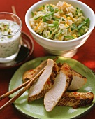Turkey breast with yoghurt dip and vegetable rice