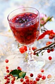Cranberry jam in a glass