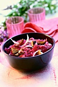 Red cabbage salad with roast meat
