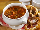 Goulash soup with pretzels