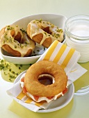 Donuts with advocaat icing, donut with grapefruit & soft cheese