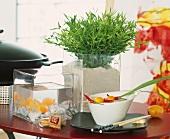 Asiatisch dekoriert: Zimmerbambus, Miniaquarium, Geschirr