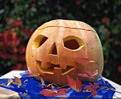 Hollowed-out pumpkin with face
