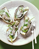 Poached oysters on a bed of salt
