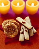 Caramel and walnut biscuits and pine nut fingers