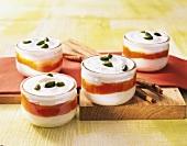 Cardamom cream with papaya sauce