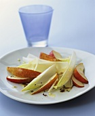 Pear and chicory salad with anchovy dressing