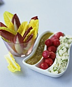 Chicory and radishes with anchovy and soft cheese dips
