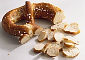 Soft pretzel, cut up into small pieces
