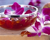 Apple jelly with orchids