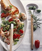 Shrimps with Pepquino cucumbers