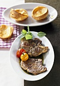 Lamb chops with mint sauce and Yorkshire pudding