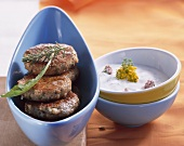 Oatmeal burgers and sour cream dip with yarrow