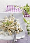 Asparagus in basil cream sauce