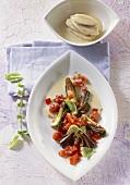 Artischockengemüse mit Toulouser Sauce und Hähnchenbrust
