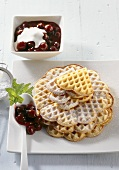 Waffles with caramel cherries