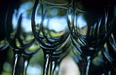 Gläser für eine Weinprobe aufgereiht