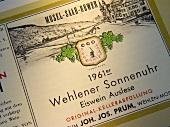 Weinetikett 1961 Wehlener Sonnenuhr Eiswein J. J. Prüm, Mosel