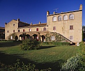 Fassade des Winguts San Guido, Bolgheri, Toskana, Italien
