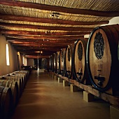 Wine barrels at L'Ormarins Wine Estate, Franschhoek, S. Africa
