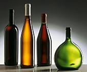 Wine bottles: Bordeaux, Burgundy, white wine & Bocksbeutel