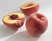Peaches (Prunus persica), variety 'Diamond Princess'