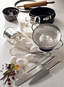 Assorted baking ingredients and utensils