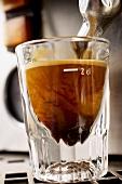 Espresso running into an espresso glass
