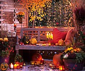 Terrace decorated for Halloween
