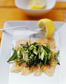 Brook trout fillets with asparagus and nut butter