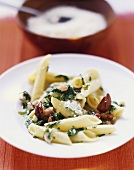 Penne con le castagne (pasta with spinach, chestnuts & bacon)