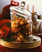 Oat and apricot cookies in jar