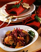 Red cabbage with currants and apricots