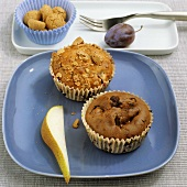 Plum and amarettini muffin and Nutella and pear muffin