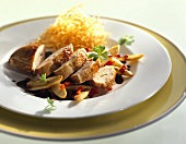 Chicken breast with woodruff and straw potatoes