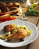 Viennese fried chicken with parsley potatoes