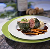 Crepinette of young venison with apple and celery puree