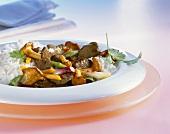 Venison fillet with chanterelles, spring onions & rice