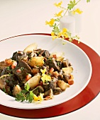 Ostrich ragout with mushrooms