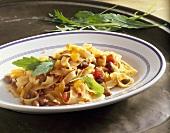 Pasta e fagioli (ribbon pasta with borlotti beans, Italy)