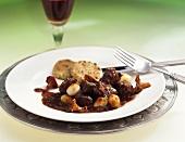 Venison ragout with chanterelles & vegetable cakes