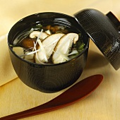 Miso soup with wakame seaweed and silken tofu (Japan)