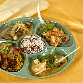 Plate of different Asian dishes (Thailand)
