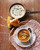 Soup with yoghurt & mint, vegetable soup with bulgur & mushrooms