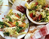 Frisee with orange dressing and endive with walnuts