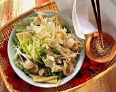 Chinese cabbage salad with lychees, peas & sprouts