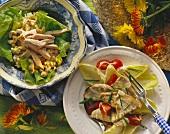 Turkey breast salad with corn & turkey salad with chicory