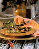 Warm game salad with chanterelles