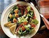 Salad with Sorrel and Salmon; Bread